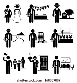 Administrative Management Services Jobs Occupations Careers - Wedding Planner, Event, Undertaker, Landscaper, Property Manager, Conference, Tour Guide, Butler, Meeting - Stick Figure Pictogram