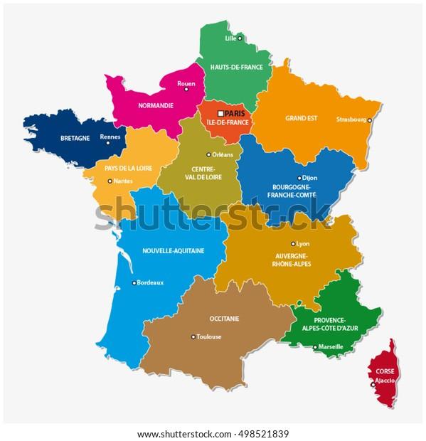 Administrativt Kort Over De 13 Regioner Lagervektor Royaltyfri