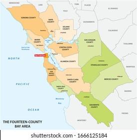 Administrative map of the California region San Francisco Bay Area