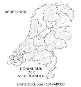 Administrative Map of the European Provinces of the Kingdom of the Netherlands with the Provinces, COROP areas, and municipalities. Vector illustration.