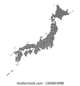 Administrative map of Japan with prefectures. Vector illustration isolated on white background