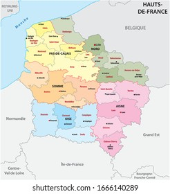 administrative map of the new french region Hauts de France