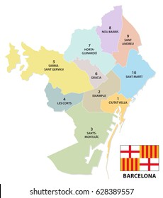 Administrative and political map of the Catalan capital of Barcelona with flag