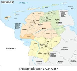 carte administrative et politique de la région de Basse-Saxe, Frise orientale, Allemagne