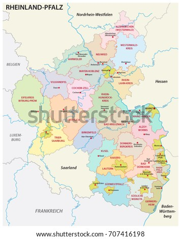 Administrative Political Map State Rhineland Palatinate German Stock