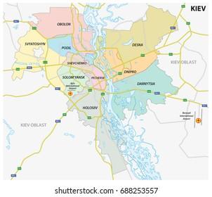 Administrative, political and roadmap of the Ukrainian capital Kiev, Ukraine
