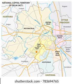 Administrative, political and street map of the National Capital Territory of Delhi (NCT)