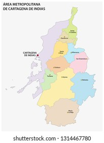 administrative and political vector map of the metropolitan area of cartagena de indias, colombia