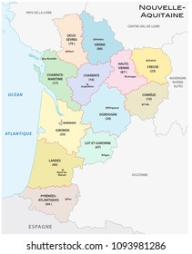 administrative and political vector map of the region Nouvelle-Aquitaine, France