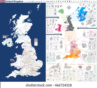 administrative units map of United Kingdom with administrative divisions(counties,areas,districts,etc.)and flags of England, Wales, Scotland and Northern Irelnad. All elements entitled and easy-to-use