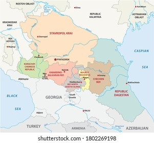 administrative vector map of the Russian North Caucasian Federal District