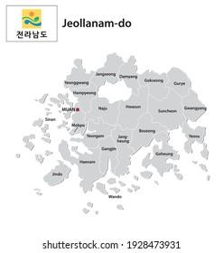carte vectorielle administrative de la province sud-coréenne de Jeollanam-do avec drapeau