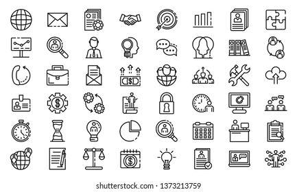 Administrator icons set. Outline set of administrator vector icons for web design isolated on white background