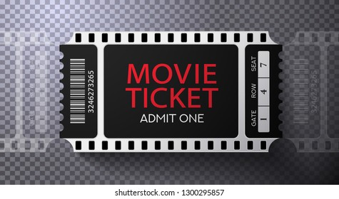 Admission movie ticket template. Black vector mockup pass (tear-off) with film tape creative background design. Useful for cinema event, entertainment show entry