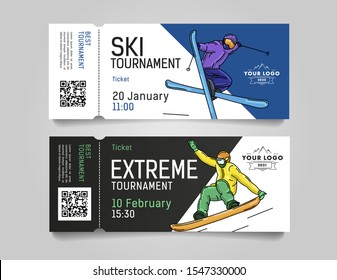 Admission tickets for extreme winter sports tournament or competition invitation with skier and snowboarder illustrations