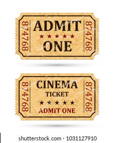 Admit one ticket and Cinema ticket. Two old admission tickets isolated on white background. Vector illustaration