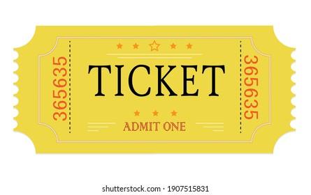 Admit One Ticket. Retro style. Vector graphic.