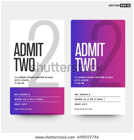 admit two entrance ticket template live のベクター画像素材