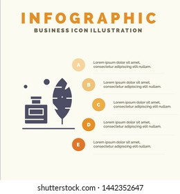Adobe, Feather, Inkbottle, American Solid Icon Infographics 5 Steps Presentation Background