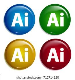 Adobe illustrator multi color gradient glossy badge icon set. Realistic shiny badge icon or logo mockup