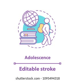 Adolescence concept icon. Teenager idea thin line illustration. Schoolchild. University or school education. Vector isolated outline drawing. Editable stroke