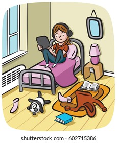 An adolescent girl wearing headphones sits in her messy room watching streaming video on her tablet computer.