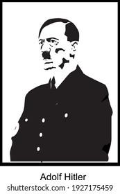Adolf Hitler portrait black and white. Serbia - Belgrade 01.03.2021