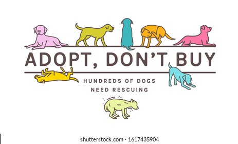 Adopt do not buy. Dog adoption event horizontal poster. Lonely puppy waiting for an owner. Rescuing concept. Editable vector illustration in bright colors isolated on white background. Charity advert