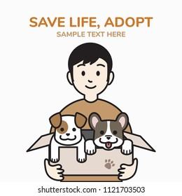 adopt a dog concept, man holding a cardboard box with puppies, outline cartoon style