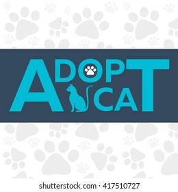 Adopt logo. Dont shop, adopt. Cat adoption concept. Vector illustration