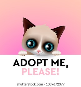 Adopt me, cute cartoon character, help animal concept, pet adoption, vector illustration.