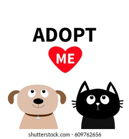 Adopt me. Dont buy. Dog Cat Pet adoption. Puppy pooch kitty cat looking up to red heart. Flat design. Help homeless animal concept. White background. Isolated. Vector illustration