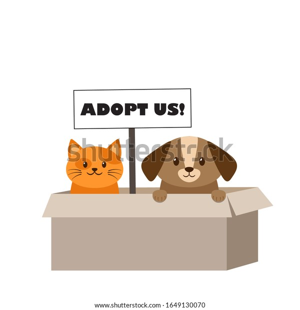 Adopt Pet Banner Cute Homeless Puppy Stock Vector Royalty Free 1649130070