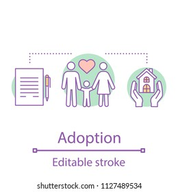 Adoption concept icon. Orphanage. New family idea thin line illustration. Children's charity. Parenting, parenthood. Vector isolated outline drawing. Editable stroke
