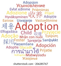 Adoption in different languages, word cloud concept. Vector illustration.