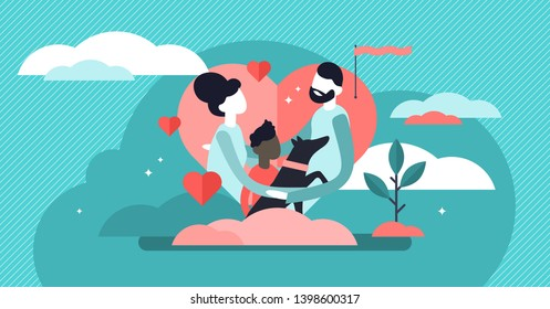 Adoption vector illustration. Flat tiny custody parenting person concept. Abstract adult guardianship process to support pet or kids. Adult solidarity and responsibility biological relationship system