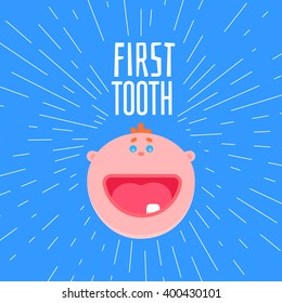 Adorable 6 months old baby laughing. First tooth greetings card with typography and baby flat style face. One kids tooth funny banner with design elements. Smile boy face at blue background
