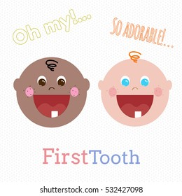 Adorable African American and caucasian little boys with first tooth. Little toddlers smiling, vector hand drawn illustration.