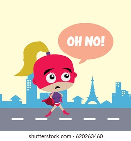 Adorable and amazing cartoon superhero in classic pose in front of city view vector