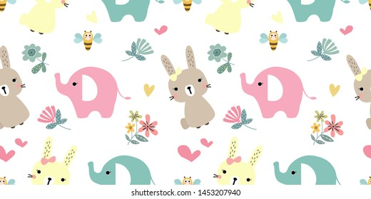 adorable animals illustration in seamless pattern for personal project,background, invitation, wallpaper and many more