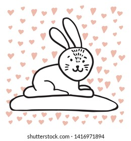 Adorable animals in trendy Scandinavian style. Funny, cute, hugge, hand drawn illustration for poster, banner, print, decoration kids playroom or greeting card.