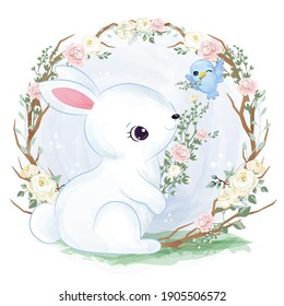 Adorable baby bunny in the garden illustration