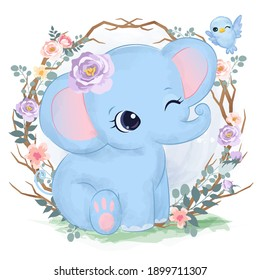 Adorable baby elephant in the garden illustration