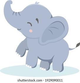Adorable Baby Elephant Vector Illustration