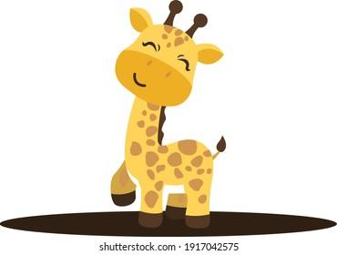 Adorable Baby Giraffe Vector Illustration
