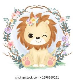 León bebé adorable en la ilustración del jardín