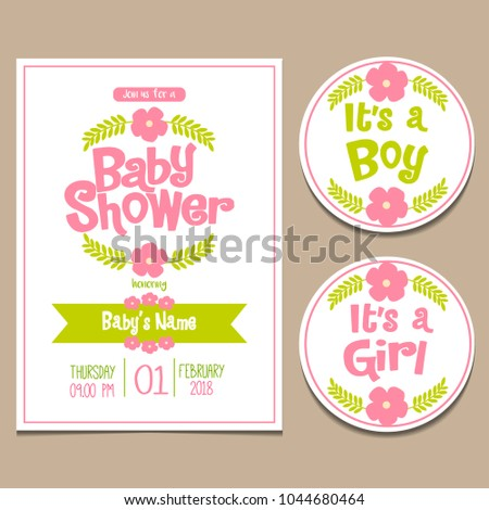 b86a94679ca7 Adorable Baby Shower Invitation Card Template Stock Vector (Royalty ...