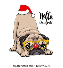 Adorable beige puppy Pug in a glasses and with a red Santa's cap. Christmas and New Year humor card, t-shirt composition, handmade vector illustration.