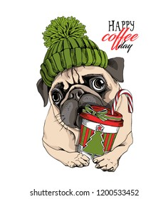 Adorable beige puppy Pug in a green knitted hat and with a plastic cup. Happy coffee day - lettering quote. New Year card, t-shirt composition, handmade vector illustration.
