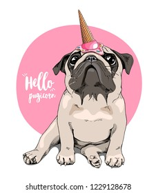 Adorable beige puppy Pug in a ice cream party cap on a pink background. Hello Pugicorn - lettering quote. Humor card, t-shirt composition, hand drawn style print. Vector illustration.